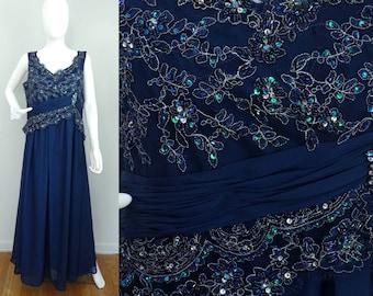 Vintage blue floor length beaded dress size large, sleeveless dress, formal dress, occasion dress,prom dress, party dress, full length