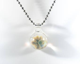 Floral Implosion Pendant #5, Glass Flower Pendant, Lampwork Focal, Boro Pendant