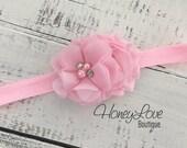 Light Pink shabby chiffon flower rhinestone pearl headband hair bow, elastic head band newborn infant toddler little baby girl photo shoot
