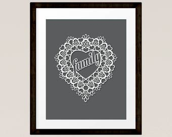Family in Lace Love Heart cut out style, dark grey colour, Cottage Art Print, Family gift  INSTANT DOWNLOAD