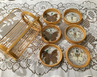 Vintage Bamboo Rattan Pressed Butterfly 6 Piece Coaster Set with Caddy