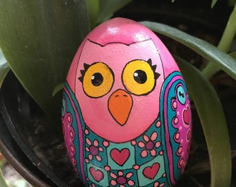 Wooden Pink and turquoise hand painted Owl egg with hearts snd flowers