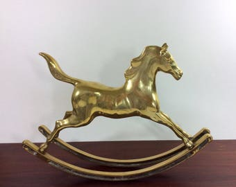 Large Brass Rocking Horse-Vintage Horse Statue