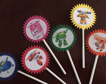 Super Wings Cupcake Toppers (6), Super Wings birthday, Super Wings Party