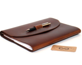 Oil Tanned Leather Composition Notebook Cover Chestnut Napa Excel
