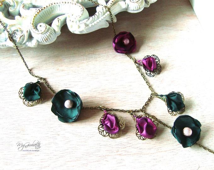 Modern Necklace, Purple Green, Filigree Pendant, Romantic Vintage Pendant, Fabric Flower Necklace, French Provence, Vintage Style Pendant