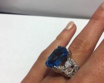 Sterling Silver and Blue Stone Statement Ring