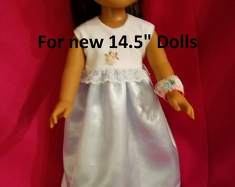 """Dixie-crafted Robin's Egg Satiny Dress  to fit 14.5"""" Dolls including those from the American Girl Doll Clothes Company"""