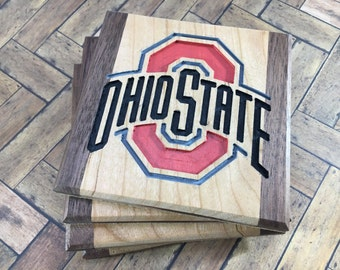 Ohio State Drink Coasters Cherry and Walnut - Set of 4