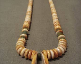 Extra Long And Cute Navajo Spiny Oyster Green Turquoise Sterling Silver Necklace