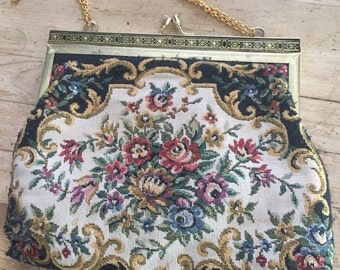 Vintage Tapestry Purse Clutch Evening Handbag, Victorian Style Tapestry Evening Purse, vintage clutch, Easter purse, gift for Mom