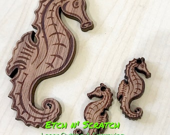 Laser Timber Seahorse set large for necklace small size for Earrings, holes included