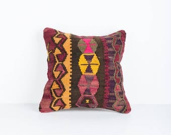 Vintage Turkish Kilim Pillow Cover, Bohemian Decorative Pillow, Boho Pillow, Southwestern Pillow, Turkish Kilim, Purple Kilim, Boho Cushion
