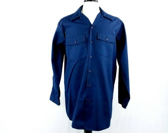 Dickie work shirts etsy for Blue button up work shirt