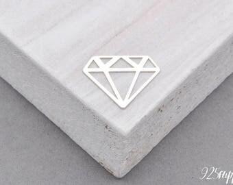 Sterling Silver 925 diamond, silver 925, diamond pendant, diamond charms, necklace diamond, diamond silver pendant,