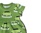 Car Print Dress, Girls Skater Dress, Bright Toddler Dress, Unisex Kids Clothes, Modern Baby Clothes, Scandi Kids Clothes, Bright Girls Dress