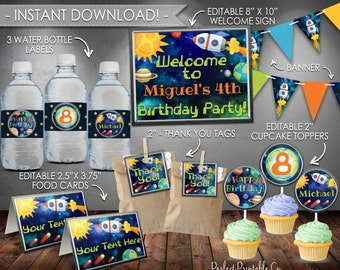 Outer Space Planet Party Package, Solar System Party Package, DIY Party Kit, Birthday Bundle, Printable, Instant Download, Editable PDF #584