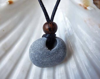 Irish lucky hag stone necklace, Odin stone amulet, surfer pendant, beach stone pendant