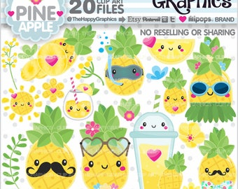 80%OFF - Pineapple Clipart, Pineapple  Graphics, COMMERCIAL USE, Pineapple Party, Pineapple Illustration, Summer Clipart, Tropical