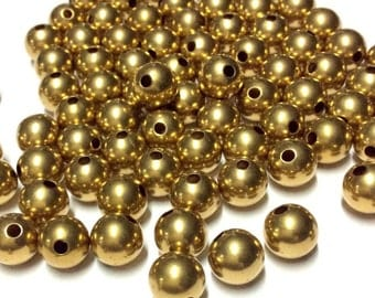 10mm Round Brass Beads 50, 100 pcs - Brass Balls - Raw Brass Beads