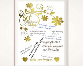 50th Anniversary Print - 50th Anniversary Gifts for Parents, Wedding Anniversary Poster, Golden Anniversary Gift Ideas,  Parents, PRINTABLE