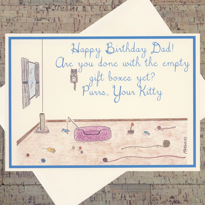 Cat Birthday Card Dad Father Funny