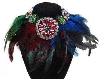 Awesome Feather Bib Necklace Choker Ribbon Tie Color Options