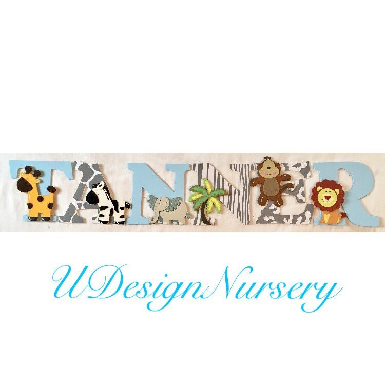 Jungle Wood Wall Decor : Safari themed wooden wall letters nursery decor jungle