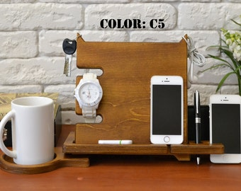 Cell phone stand Custom charger Custom iphone stand Wood ipad dock 40 year old birthday gift
