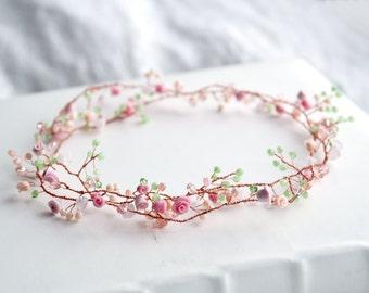 Bridal hair accessory - Bridal hairpiece - Bridal hair garland - Rustic wedding accessory - Floral hair accessory - Bridal hair vine