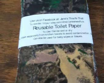 Camo toilet paper, baby wipes, reusable, dryer sheets, make up applicators, rags, napkins, washable, outdoor, flannel, hunting, family cloth