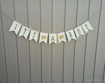 Where the Wild Things Are Baby Shower Decor, Where the Wild Things Are Banner, It's A Boy Banner, Burlap Bunting Garland, It's A Boy Garland