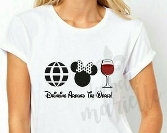 Drinking Around The World Womens Disney Epcot Shirt - Ladies Disney Epcot Shirt - Epcot Center Tshirt