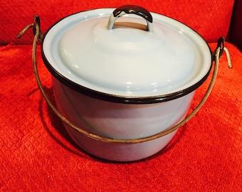 Enamel Blue Pot or Pan Vintage