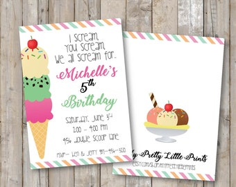 Ice Cream Party Invitation *INSTANT DOWNLOAD*