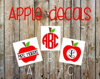 Apple monogram decal | Teacher monogram decal | Car decal | Monogram decal | Laptop decal | Cup decal | Phone decal