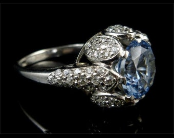 Edwardian 4ct Blue Zircon French 18ct Gold Solitaire Ring