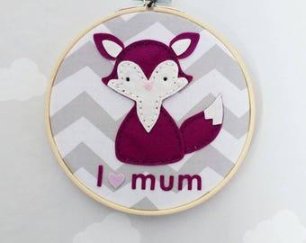 "Wall decoration ""i love mum-vulpine"" 100% wool felt"