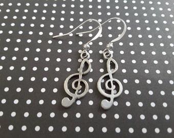 Silver Trebel Clefs . Earrings