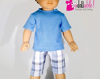 American made Boy Doll Clothes, 18 inch Boy Doll Clothing, boy doll tee and plaid shorts made to fit like American girl doll clothes