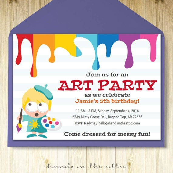 art party invitation card template printable kids painting birthday