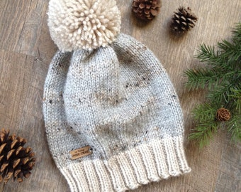 """Women's Knit Beanie ~ Mens Winter Knit Hat with Pom Pom ~ Woodland - Rustic Knitted Hat """"THE LILBURN"""" in Grey Marble, Silver Heather & Linen"""
