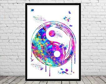 Yin and yang, watercolor print, yin and yang symbol,Buddha Art, watercolor Yin and yang, Yin and yang Poster,Yin and yang watercolor