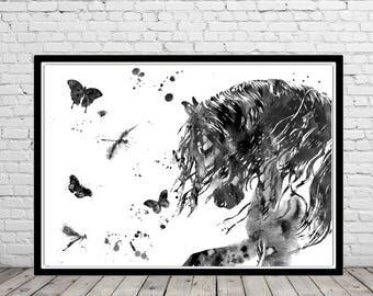 Horse, andalusian horse, watercolor print, watercolor horse, animal print, horse and butterfly dragonfly, horse art, horse, animal (3051b)