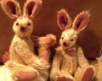 Milly and Molly, hand made collector's hares