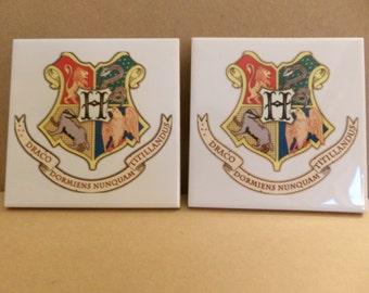 SALE Hogwarts Harry Potter Pair of Tile Coasters 20% OFF