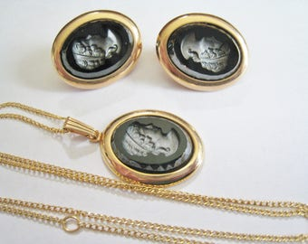 Sarah Coventry Black Cameo Necklace & Clip Earrings Set
