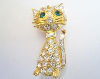 Gold Tone Rhinestone Cat Pin
