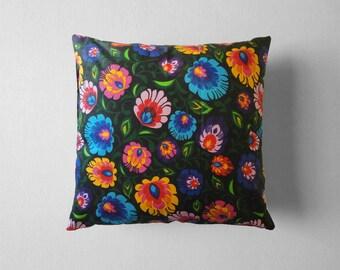 Folk Pillow, Folk Art, Polish Folk Art, Throw pillow, 16x16 Decorative pillow, Home decor, Sofa pillow, Polish Folk Pillow, Florar Ornament