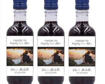 Wedding Mini Wine Bottle Labels, Custom mini wine bottle label stickers #MW5